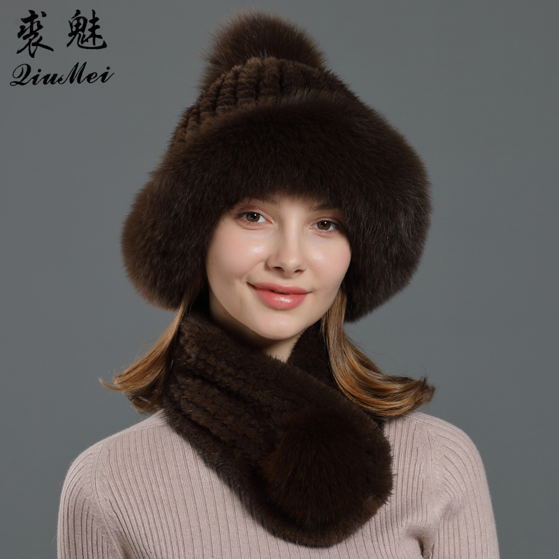Winter Scarf And Cap Real Mink Fur Knitted Warm Ears Hold Fox Fur Natural Classic Brown Black Color Fur Set Of Hat Scarf Women