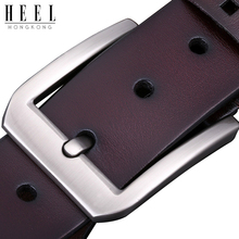 HEEL 2019 New Full Cowhide Cut Mens Brand Leather Needle Buckle Belt Casual Jeans First-class Free Shipping