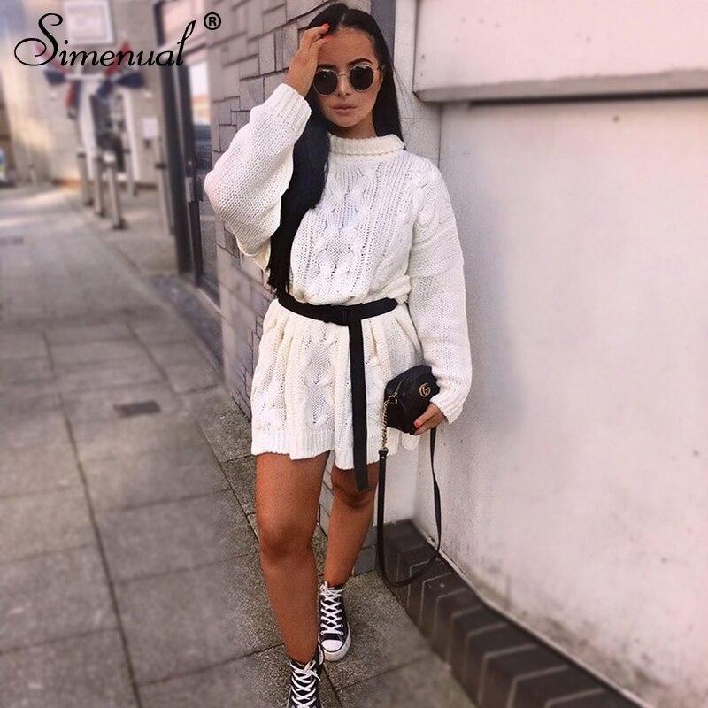 Simenual 2019 Autumn Knitwear Dress Women Long Sleeve Fashion Winter Sweater Dresses Casual Twist Turtleneck Solid Slim Dress in Dresses from Women 39 s Clothing