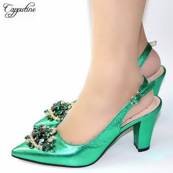 Wonderful green sprint/autumn pointed toe high heel sandal shoes with crystal stones 9762-2, heel height 8cm