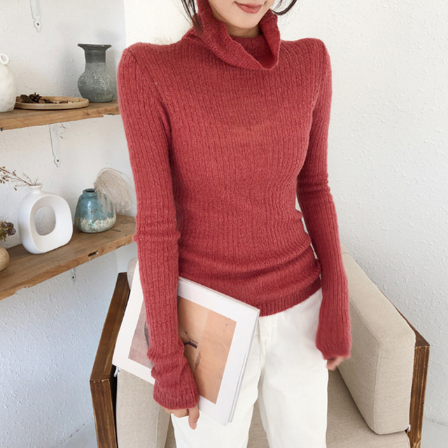 Ailegogo Spring Women Thin Turtleneck Sweater Casual Knitted Female Slim Fit Pullovers Korean Style Ladies Knitwear Tops 5