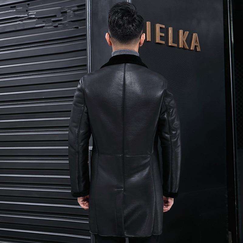 Genuine Leather Jacket Winter Natural Wool Liner Coat Men Sheepskin Leather Jacket Veste Homme Hiver LJ18F027 MY785
