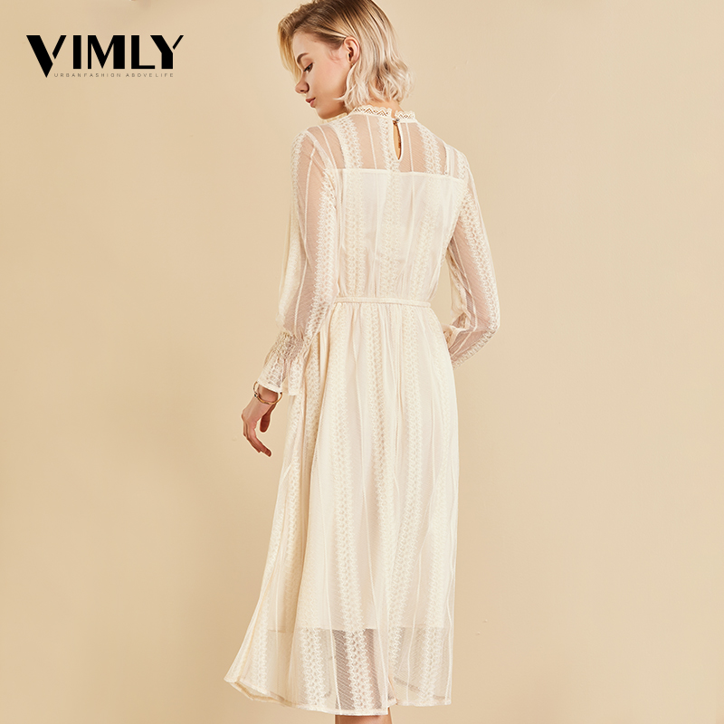 Vimly Elegant Mesh Lace Embroider Women Dress Stand-Neck Flare Sleeve Party Dresses Sexy Midi Elastic Waist Hollow Out Dress 4
