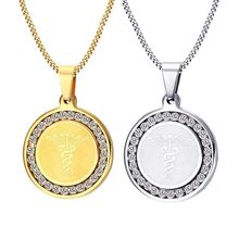 Fashionable Simple Necklace Stainless Steel Single Zircon Medical Sign Pendant Double Snake Rod Men's Unisex Jewelry Gift