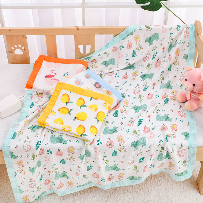 4 Layers Bamboo Cotton Baby Muslin Blanket Swaddles Soft Newborn Blankets Bath Gauze Infant Kids Wrap Sleepsack Stroller Cover