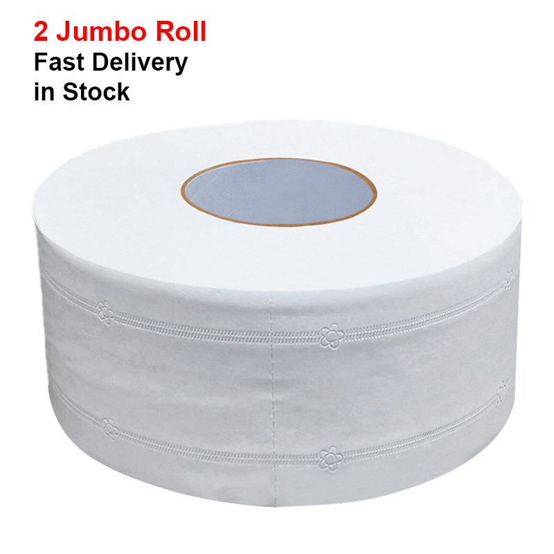 2 Rolls Jumbo Bathroom Roll Tissue Soft Professional Series Premium Household And Commercial Toilet Paper