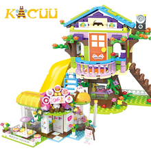 587pcs DIY Castle Set Blocks Girls Cafe Dessert Shop Building Blocks Bricks Toys Car Slide Compatible With Children Girl Friend