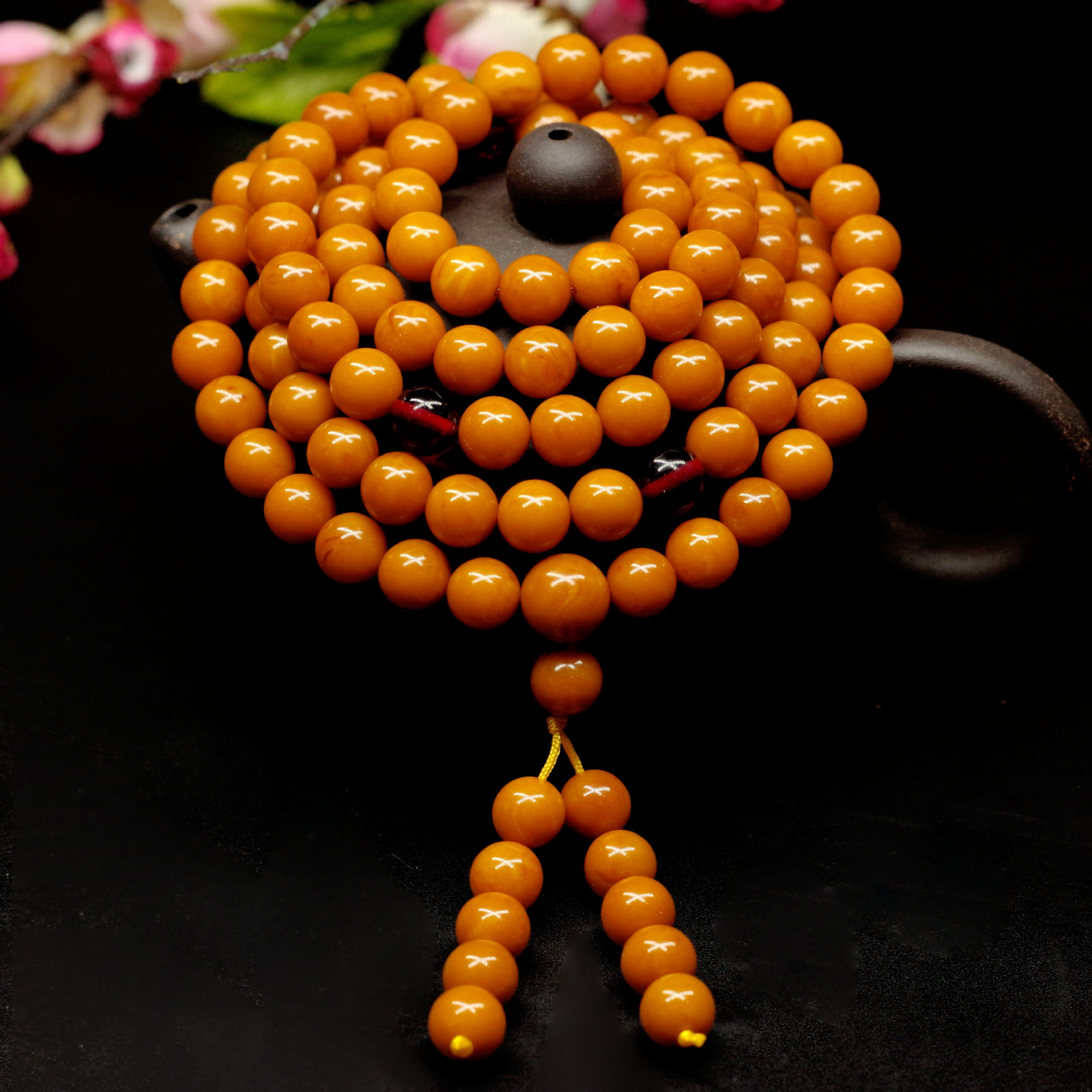 Natural raw amber beeswax bracelet 108 beads amber 8mm beeswax bracelets for Women Best Friend add certificate image
