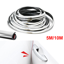 5M/10M Car Door Protector Anti-Collision Strip Silver Edge Anti-Scratch Sticker chrome Trim Body Safety Seal Protection