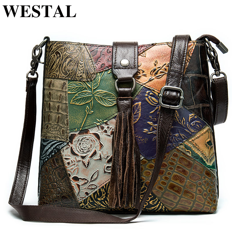 WESTAL Women's Genuine Leather Handbag Patchwork Shoulder Bag Women Leather Handbags Ladies Crossbody Bags Female Bags For Women