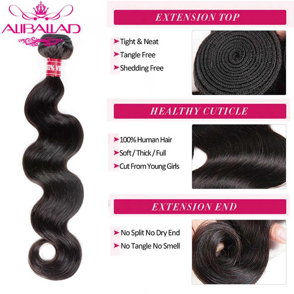 Aliballad שיער ברזילאי גוף גל 3 חבילות צבע טבעי מארג רמי שיער הרחבות 100% שיער טבעי חבילות 300 גרם\חבילה