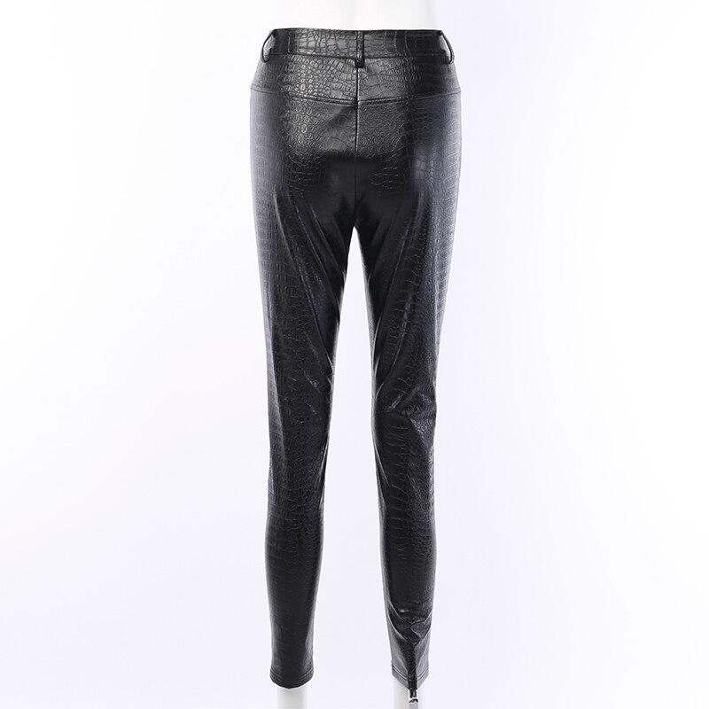 InstaHot Black High Waist Pencil Faux Leather Pants Women Casual Elegant Carving Print Ankle Length Pants Streetwear Trousers 63