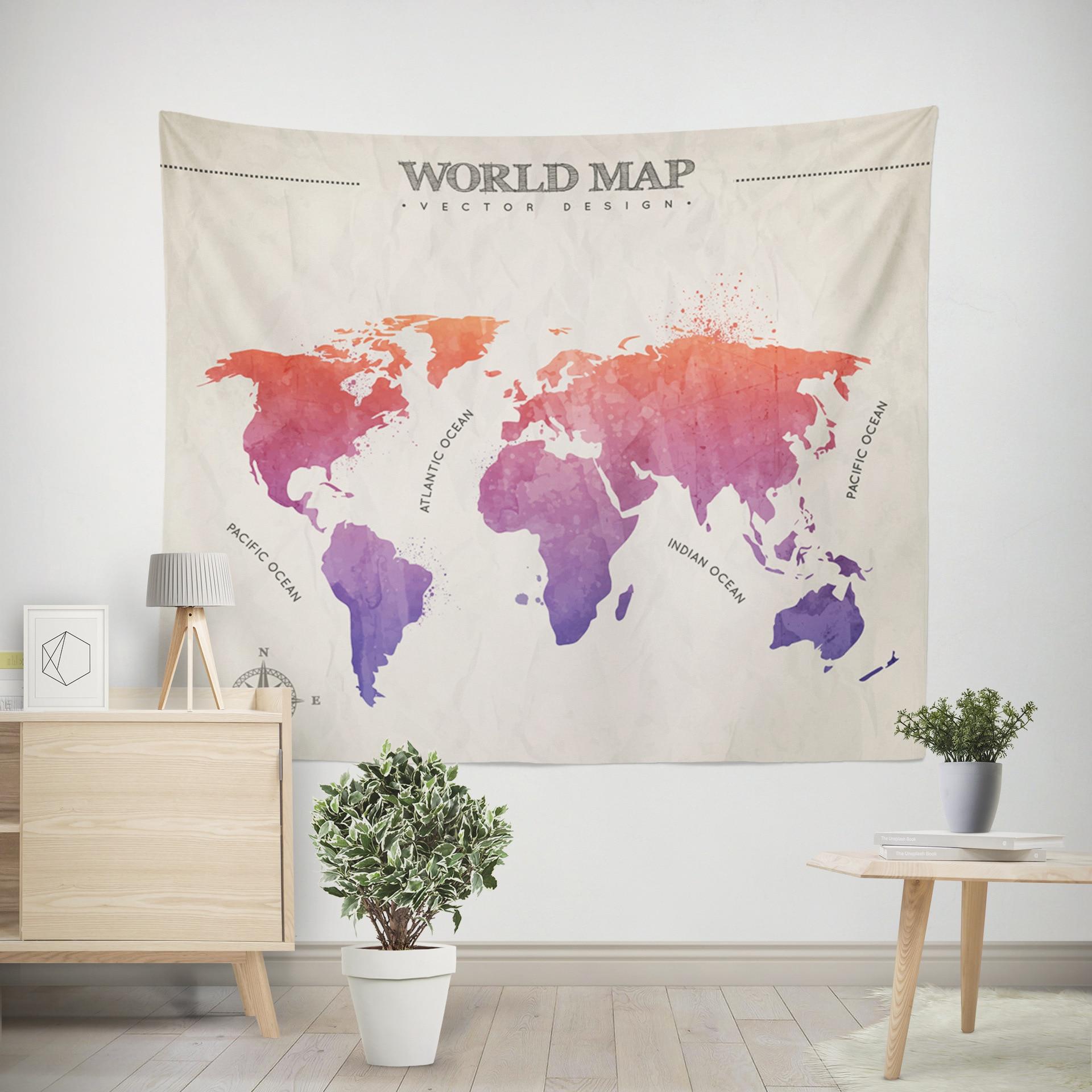 Карта мира цветные напечатанные домашние тканевые декоративные гобелены