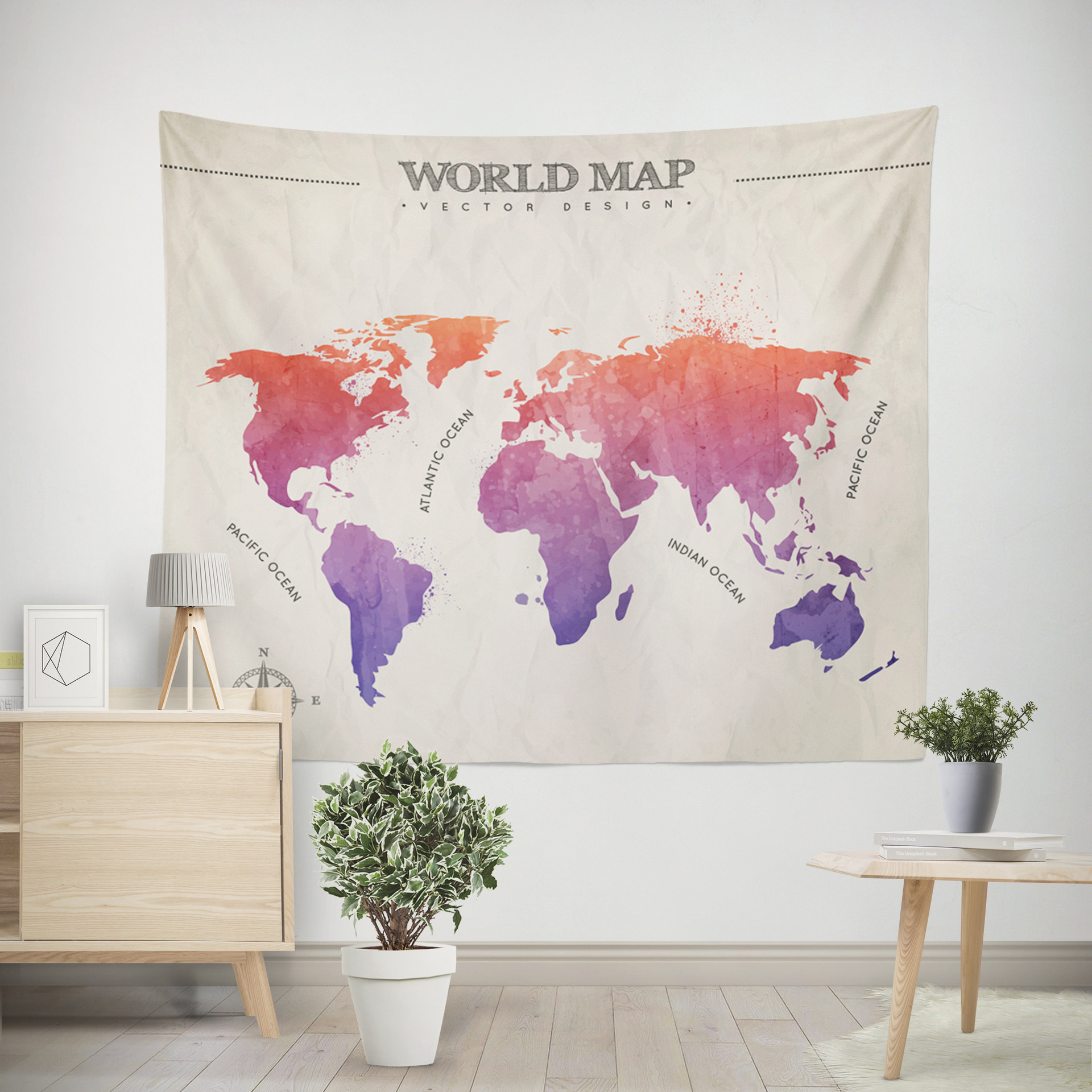 World Map Color Printed Home Fabric Decorative Tapestries