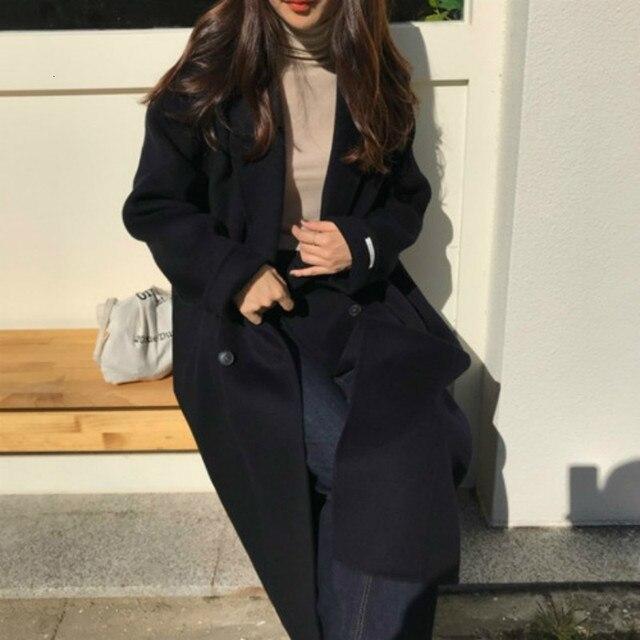 Korea Women Winter Yellow Long Cashmere Coat Slim Waist Elegant Overcoat with Waistbelt Pocket Loose Outerwear Jacket 5