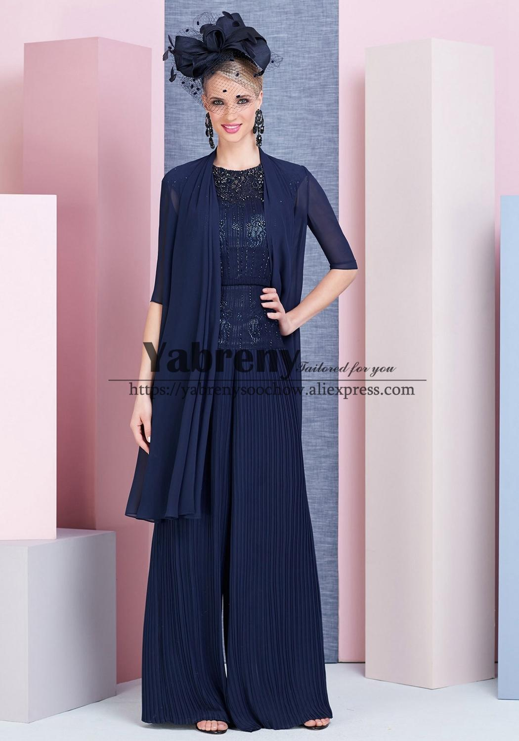 NAVY Mother Of The Bride Trousers Outfit Accordion Pleats Pants Suits