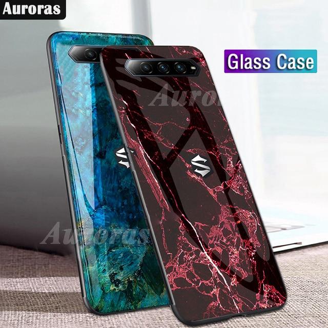 Auroras For BlackShark 4 Pro Case Tempered Glass Soft Silicone Frame Cover Marble Print For Black Shark 4 Cover Funda
