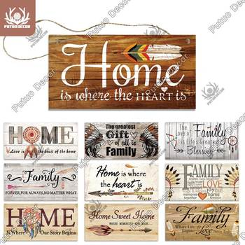 Putuo Decor Family Wooden Signs Sweet Home Wood Wall Plaque Hanging Tags for Gift Friendship Wooden Pendant Home Wall Decoration цена 2017