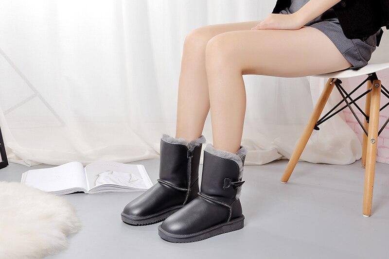 neve pele natural botas mujer inverno sapatos de lã real para as mulheres