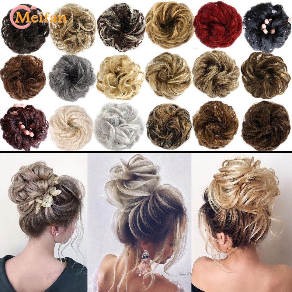 MEIFAN синтетические эластичные резинки для волос, вьющиеся шиньоны, Натуральные Искусственные волосы для пучка, вьющиеся волосы с зажимом дл...