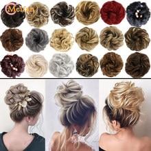 MEIFAN sentetik elastik saç Scrunchie kıvırcık Chignons saç halat doğal sahte saç topuz kıvırcık klibi saç Ponytails uzantıları