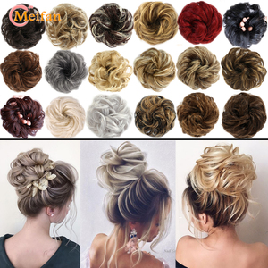 MEIFAN Synthetic Elastic Hair Scrunchie Curly Chignons Hair Rope Natural Fake Hair Bun Curly Clip in Hair Ponytails Extensions
