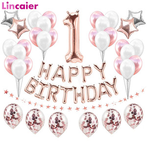 37 шт первый день рождения баннер воздушные шары с конфетти цвета розовое золото мой 1st 1 один год вечерние украшения дети мальчик девочка 2 3 4 ...