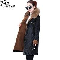 UHYTGF New plus velvet winter denim jacket womens black thick warm parker jeans jacket fur collar casual 2XL plus size coats 409
