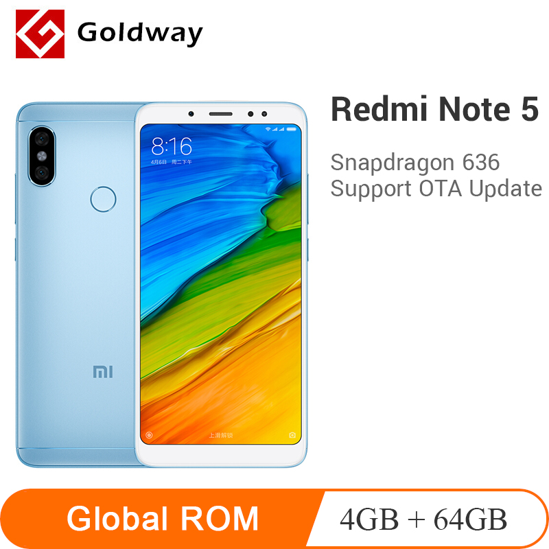 "Original Xiaomi Redmi Note 5 4GB 64GB Smartphone Snapdragon 636 Octa Core 5.99"" 18:9 Full Screen 12MP+5MP AI Camera 4000mAh"