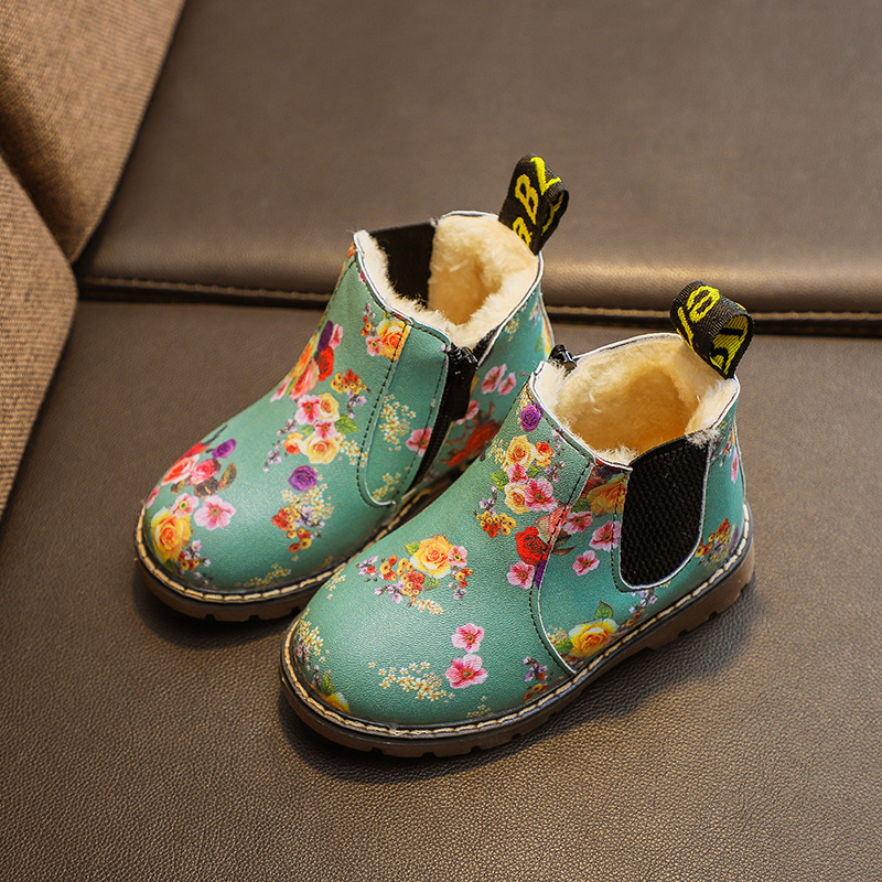 Children Rubber Boots Waterproof Flower Print Girls Toddler Sneakers Kids Leather Snow Boots Non-slip Plush Baby Boy Ankle Boots