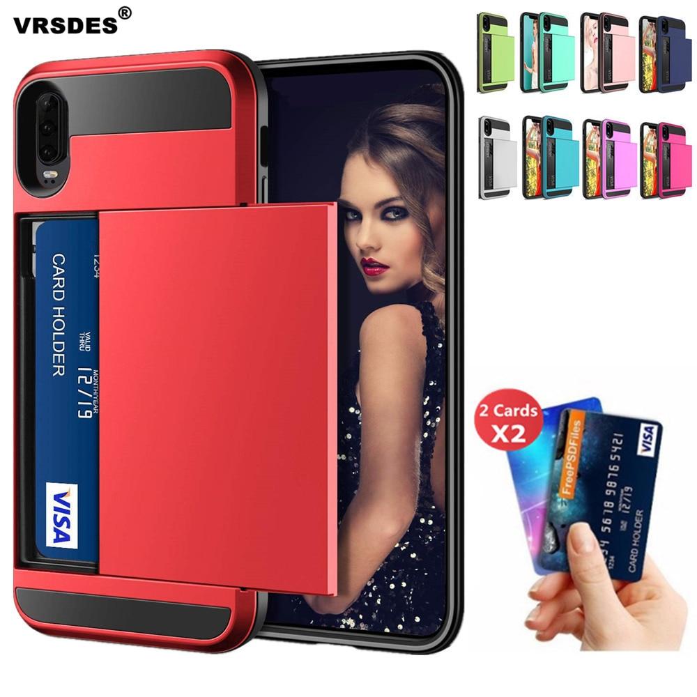 For Huawei P20 P30 Pro Lite P Smart 2019 Case Wallet Card Slot Sliding Door Hidden Pocket Case For Huawei P Smart 2019 P20 P30