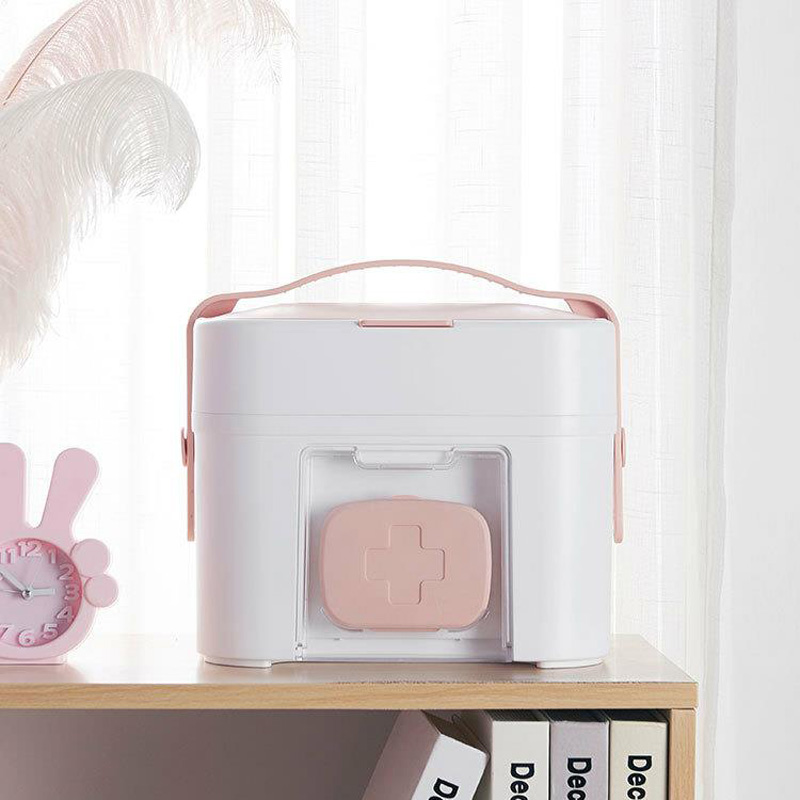 Pink Multifunction Family First Aid Kit Medicine Box 2 Layers Portable Mobile Camping Survival Emergency Drug Storage BoxDJB051