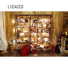 Laeacco Christmas Backdrops Teddy Bear Baby Toys Gift Wooden Shelf Reindeer Children Photo Backgrounds Photocall Studio