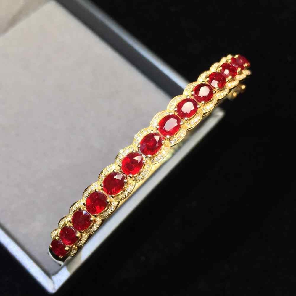 Fine Jewelry Real 18K Ouro Amarelo AU750 6.02ct G18K 100% Natural Vermelho Rubi Pedras Preciosas Jóias Pulseiras para as mulheres Bem pulseiras