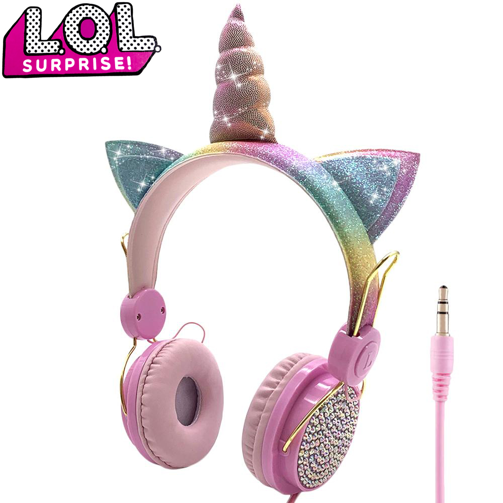 LOL dolls surprise Cute Unicorn Wired Headphone With Microphone Music Stereo Earphone Computer Mobile Phone Headset Kids Gift 1