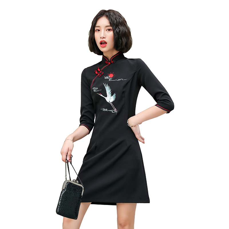 2020 improved chinese lady daily dress floral embroidery mandarin collar cheongsam vestidos elegant qipao women female aodai