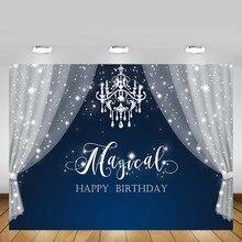 Mehofond beyaz perde Glitter yıldız yenidoğan bebek duş çocuk prenses mavi doğum günü Backdrop özel vinil fotoğraf arka plan