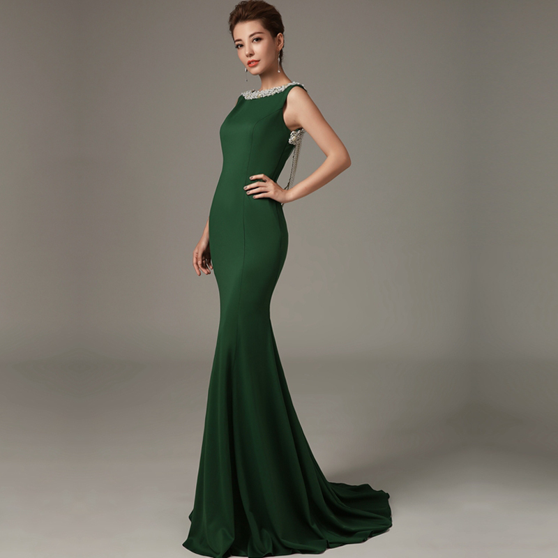 Sleeveless Beaded Crystal Burgundy Vestido De Festa Sexy Backless Mermaid Evening Prom Gown 2018 Mother Of The Bride Dresses