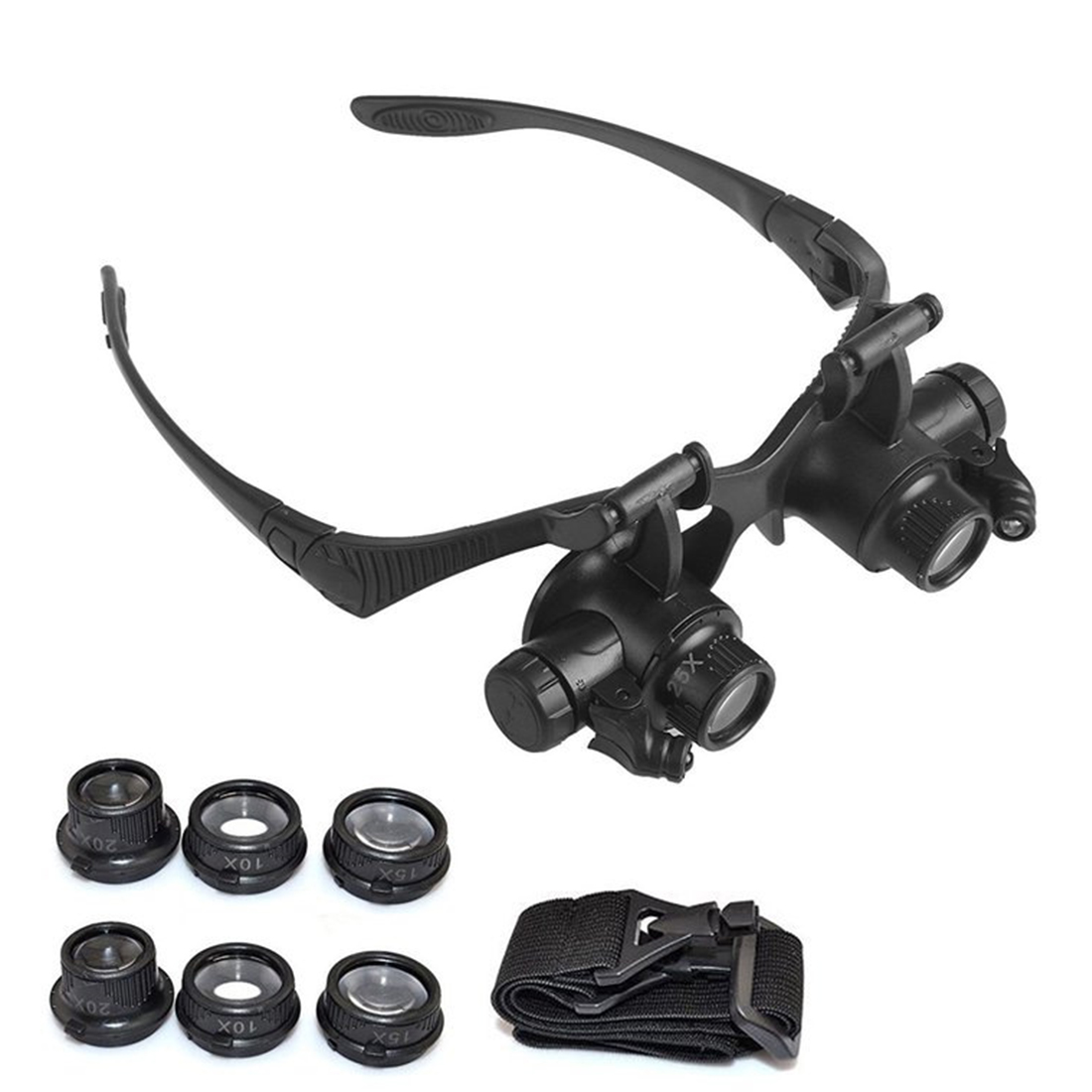 Headband Magnifying Glasses 10X 15X 20X 25X Eye Jewelry Watch Repair Magnifier Glasses With 2 LED Lights Loupe Microscope