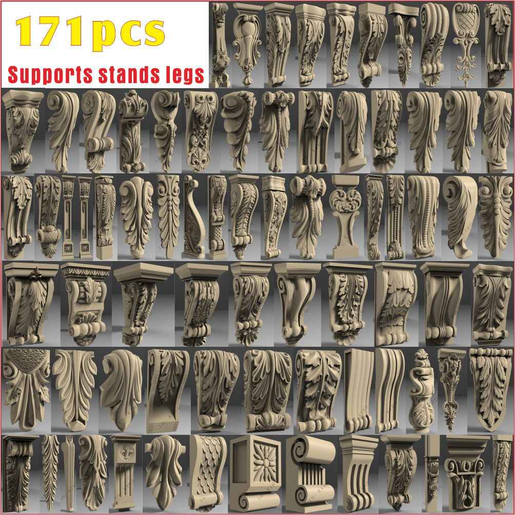 171 pcs 3D STL Model chapiter decor for CNC 4 AXLE Engraver Carvingbed Relief for CNC Router Aspire Artcam_Supports stands legs