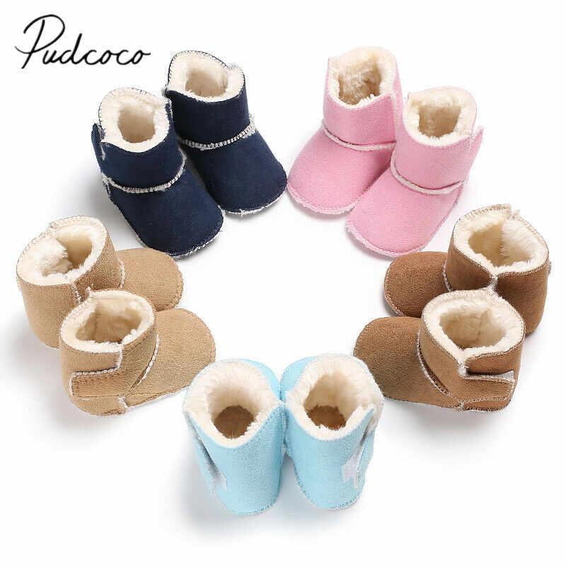 2019 marca do bebê meninas meninos botas de neve inverno quente macio babt sapatos anti-deslizamento cor dos doces de pelúcia prewalk booties 0-18 m
