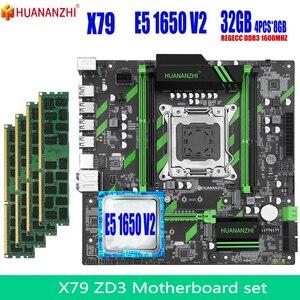 HUANANZHI X79 motherboard set Xeon E5 1650 v2 4PCS x 8GB = 32GB 1600MHz 12800R DDR3 ECC REG memory motherboard with