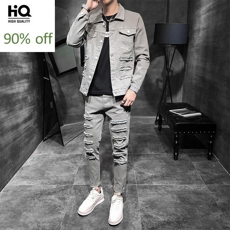 Fashion Mens Plus Size Casual Cargo 2Pcs Denim Sets Punk Hole Ripped Long Sleeve Single Breasted Jackets Ankle Length Slim Pants