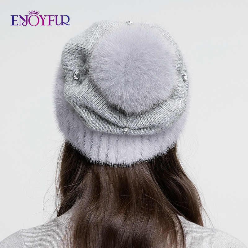 ENJOYFUR vizon kürk örme yün şapka kadınlar için kış kalın sıcak hımbıl kasketleri kadın kapaklar tilki kürk pom pom ile