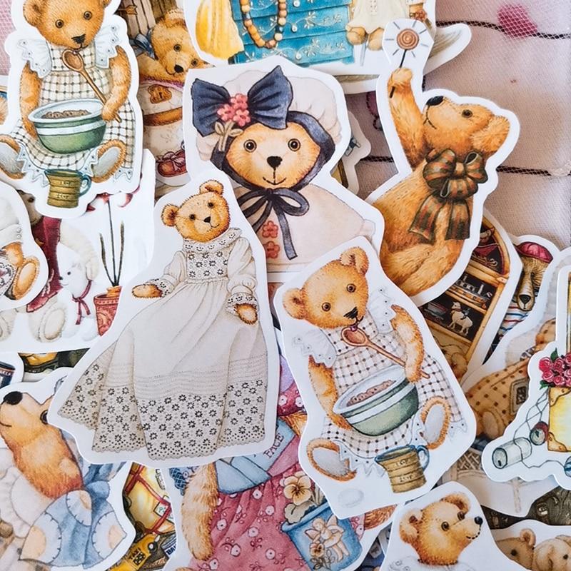 40pcs Cute Bear Dress Stickers Junk Journal Planner Stickers Scrapbooking Decorative Sticker DIY  Photo Albums