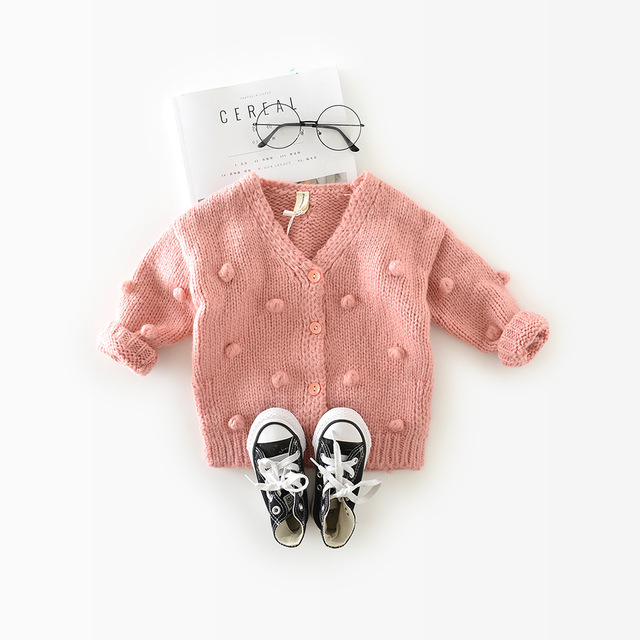 1-3 Years Old Baby Girl Sweater Child 17 Winter Ball In Hand Down Sweater Cardigan Jacket Cardigan For Girl Girls Cardigan 6