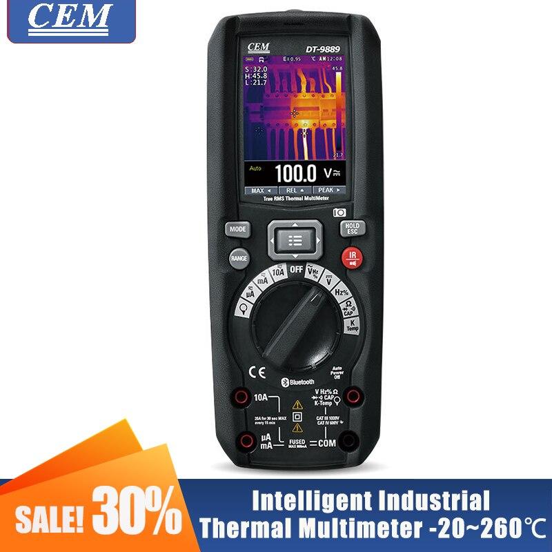 Imager térmico infravermelho industrial profesional do multímetro digital com verificador true do cem DT-9889 do rms de bluetooth dois-em-um