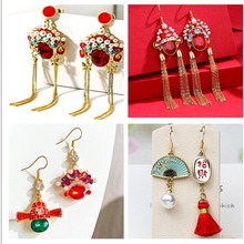 S925 Needles Chinese Style Retro Long Facebook Pearl Earrings Female Personality Wedding Tassel Stud