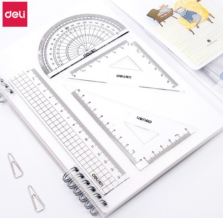 Deli Plastic Transparent Ruler Set 10 Sets Math Geometry Measuring Tools Stationery Straight Triangular Ruler Kits Cute Ruler