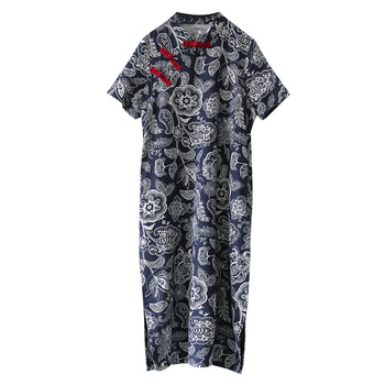 Платье в китайском стиле с улучшенной пряжкой в стиле ретро, Летнее Длинное платье с коротким рукавом 5